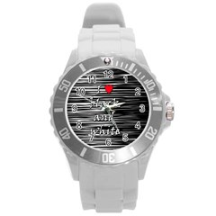 I Love Black And White 2 Round Plastic Sport Watch (l)