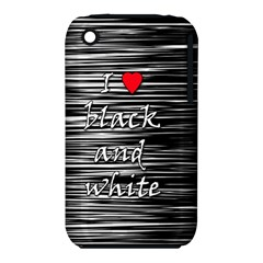 I Love Black And White 2 Apple Iphone 3g/3gs Hardshell Case (pc+silicone) by Valentinaart