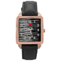 I love black and white 2 Rose Gold Leather Watch