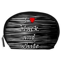 I love black and white 2 Accessory Pouches (Large)