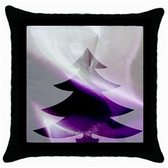 Purple Christmas Tree Throw Pillow Case (black) by yoursparklingshop