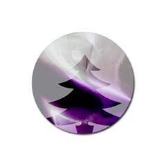 Purple Christmas Tree Rubber Round Coaster (4 pack)