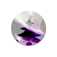 Purple Christmas Tree Magnet 3  (round) by yoursparklingshop