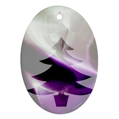 Purple Christmas Tree Oval Ornament (Two Sides)