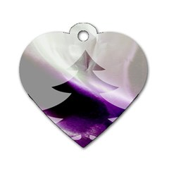 Purple Christmas Tree Dog Tag Heart (Two Sides)
