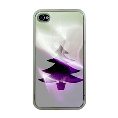 Purple Christmas Tree Apple iPhone 4 Case (Clear)