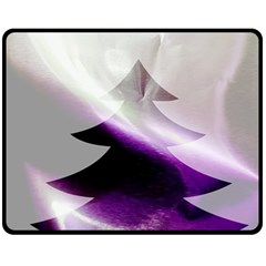 Purple Christmas Tree Double Sided Fleece Blanket (medium)  by yoursparklingshop