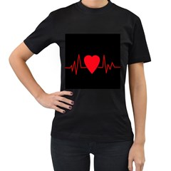 Hart bit Women s T-Shirt (Black)