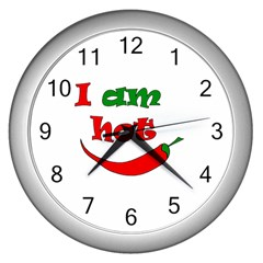 I Am Hot  Wall Clocks (silver)  by Valentinaart