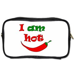 I Am Hot  Toiletries Bags by Valentinaart