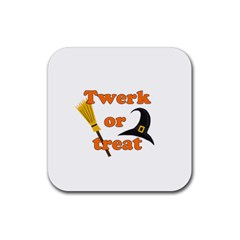 Twerk Or Treat   Funny Halloween Design Rubber Coaster (square)  by Valentinaart