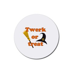Twerk Or Treat   Funny Halloween Design Rubber Coaster (round)  by Valentinaart