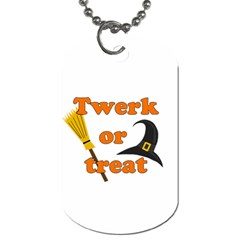 Twerk Or Treat   Funny Halloween Design Dog Tag (two Sides) by Valentinaart