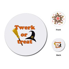 Twerk Or Treat   Funny Halloween Design Playing Cards (round)