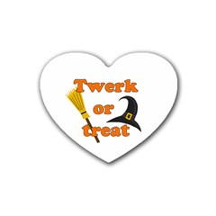 Twerk Or Treat   Funny Halloween Design Rubber Coaster (heart)  by Valentinaart