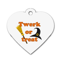 Twerk Or Treat   Funny Halloween Design Dog Tag Heart (one Side) by Valentinaart