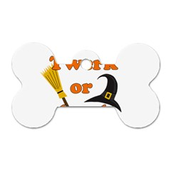 Twerk Or Treat   Funny Halloween Design Dog Tag Bone (two Sides) by Valentinaart