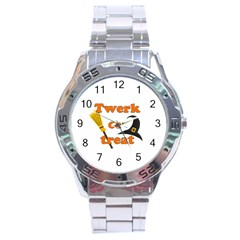 Twerk Or Treat   Funny Halloween Design Stainless Steel Analogue Watch