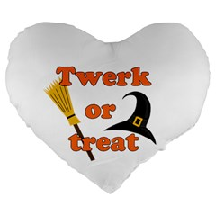 Twerk Or Treat   Funny Halloween Design Large 19  Premium Flano Heart Shape Cushions by Valentinaart