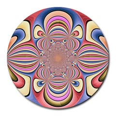Pastel Shades Ornamental Flower Round Mousepads by designworld65