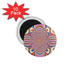 Pastel Shades Ornamental Flower 1 75  Magnets (10 Pack)  by designworld65