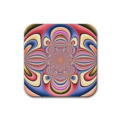 Pastel Shades Ornamental Flower Rubber Square Coaster (4 Pack)  by designworld65
