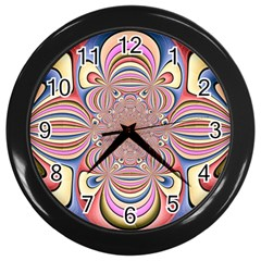 Pastel Shades Ornamental Flower Wall Clocks (black) by designworld65