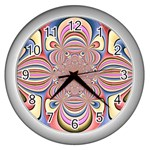 Pastel Shades Ornamental Flower Wall Clocks (Silver)  Front