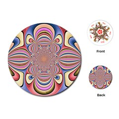 Pastel Shades Ornamental Flower Playing Cards (round)  by designworld65