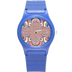 Pastel Shades Ornamental Flower Round Plastic Sport Watch (s)