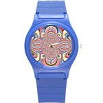 Pastel Shades Ornamental Flower Round Plastic Sport Watch (S) Front