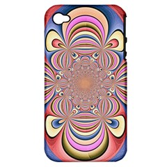 Pastel Shades Ornamental Flower Apple Iphone 4/4s Hardshell Case (pc+silicone) by designworld65