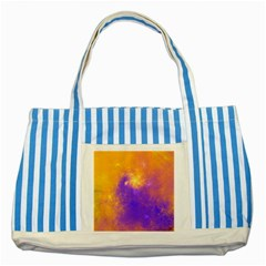 Colorful Universe Striped Blue Tote Bag by designworld65