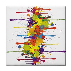 Crazy Multicolored Double Running Splashes Tile Coasters by EDDArt