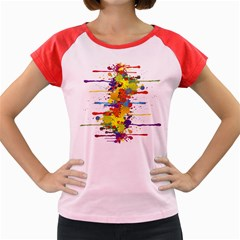 Crazy Multicolored Double Running Splashes Women s Cap Sleeve T Shirt