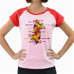 Crazy Multicolored Double Running Splashes Women s Cap Sleeve T-Shirt Front