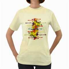 Crazy Multicolored Double Running Splashes Women s Yellow T Shirt