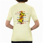 Crazy Multicolored Double Running Splashes Women s Yellow T-Shirt Back