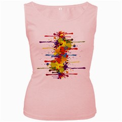 Crazy Multicolored Double Running Splashes Women s Pink Tank Top