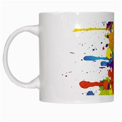 Crazy Multicolored Double Running Splashes White Mugs by EDDArt