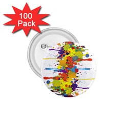 Crazy Multicolored Double Running Splashes 1 75  Buttons (100 Pack)