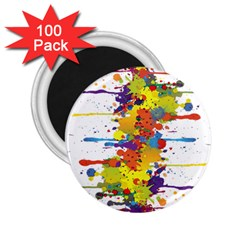 Crazy Multicolored Double Running Splashes 2 25  Magnets (100 Pack)  by EDDArt