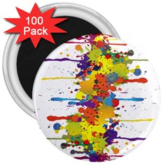 Crazy Multicolored Double Running Splashes 3  Magnets (100 Pack)