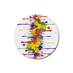 Crazy Multicolored Double Running Splashes Rubber Coaster (round)  by EDDArt