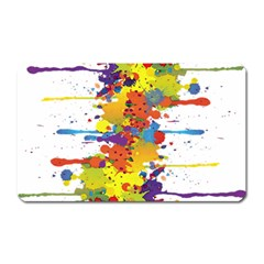 Crazy Multicolored Double Running Splashes Magnet (rectangular) by EDDArt