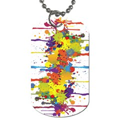Crazy Multicolored Double Running Splashes Dog Tag (one Side) by EDDArt