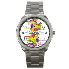 Crazy Multicolored Double Running Splashes Sport Metal Watch by EDDArt