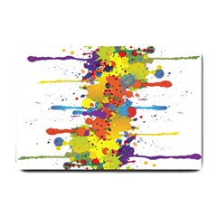 Crazy Multicolored Double Running Splashes Small Doormat  by EDDArt