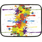 Crazy Multicolored Double Running Splashes Double Sided Fleece Blanket (Mini)  35 x27 Blanket Back