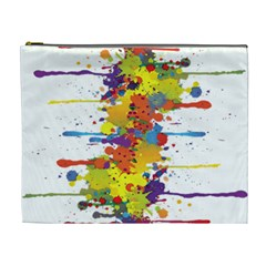 Crazy Multicolored Double Running Splashes Cosmetic Bag (xl) by EDDArt
